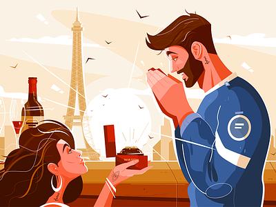 Romantic scene of lovers kit8 flat vector illustration character city man wristwatch girl love scene romantic