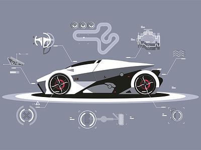 Modern car technology kit8 flat vector illustration automobile sport technology car