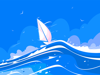 White sailing yacht kit8 flat vector illustration waves sea floating boat yacht sailing