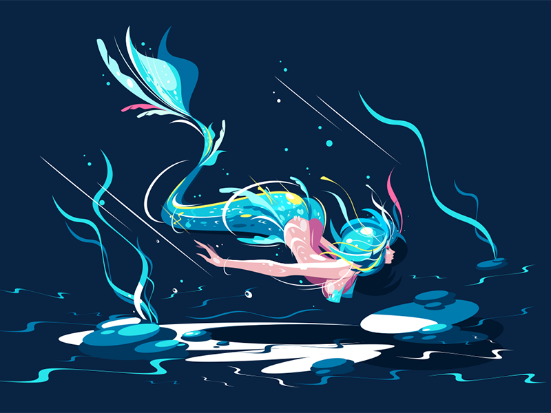 Swimming fairy mermaid kit8 flat vector illustration character nymph sea mermaid fairy swimming