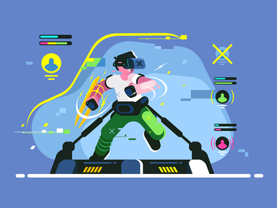 Boy playing in VR games kit8 flat vector illustration character simulator reality virtual man headset guy game vr play boy