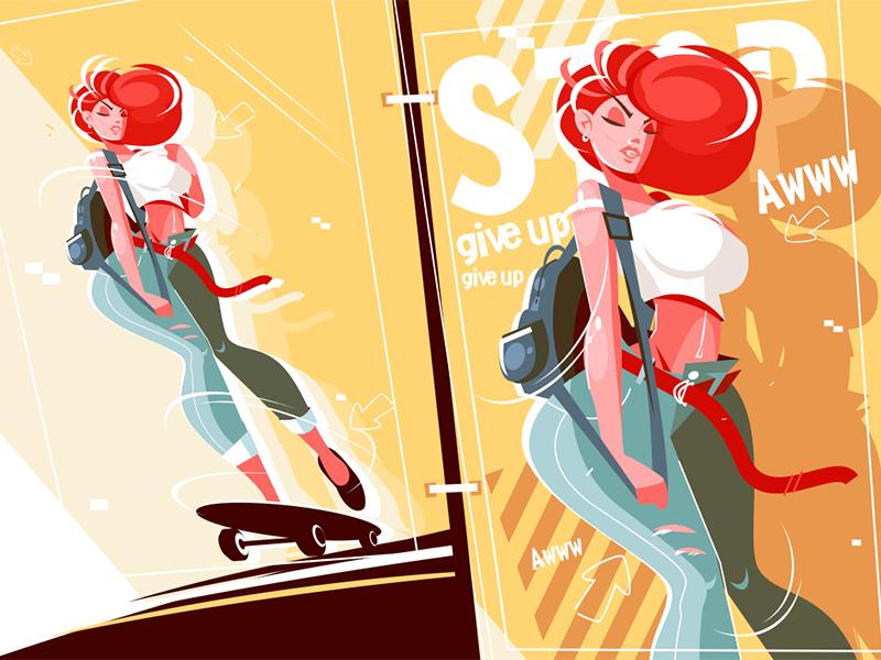 Girl on skateboard kit8 flat vector illustration character skateboard woman girl