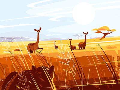 Wild picturesque savannah kit8 flat vector illustration character animal nature hunting tiger impala savannah wild