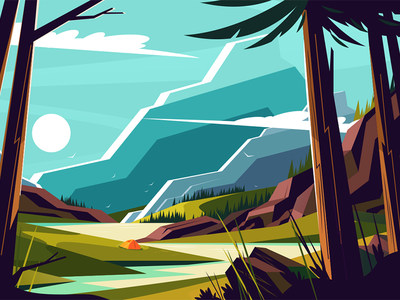 Vacation in mountains kit8 flat vector illustration tree river landscape mountain vacation
