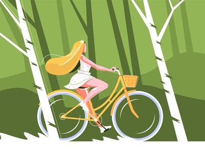 Cute girl riding bike kit8 flat vector illustration character riding park woman bike girl