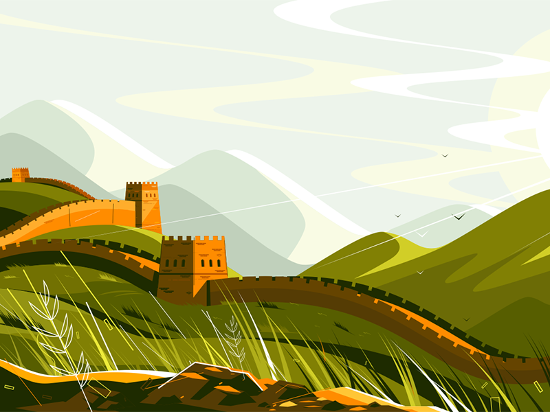 Great Wall of China kit8 flat vector illustration background landscape landmark famous china wall great