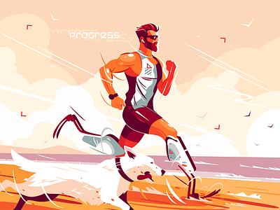 Man with prosthetic legs running on seashore kit8 flat vector illustration character dog seashore running leg prosthetic man
