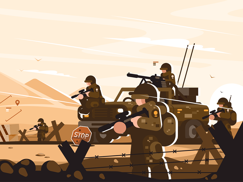 Military roadblock with soldiers kit8 flat vector illustration character uniform arms man soldier roadblock military