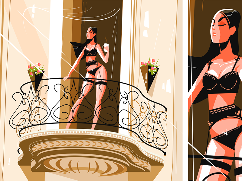 Girl drinking morning coffee kit8 flat vector illustration character lingerie woman young seductive coffee girl