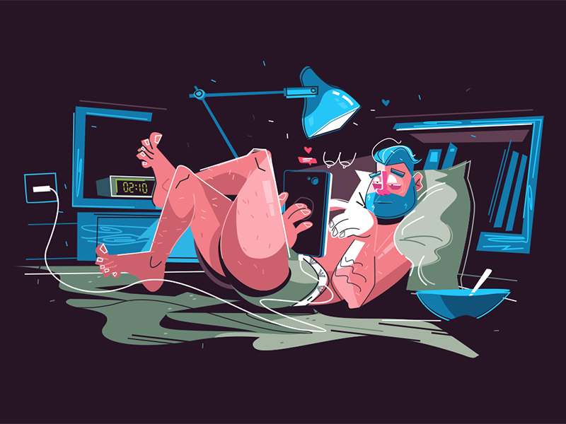 Man hanging on internet kit8 flat vector illustration character guy asleep tired internet hang man