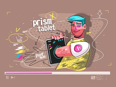 Through tablet prism kit8 flat vector illustration character hand demonstrating man smiling tablet prism