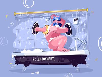 Man washing in fantastic shower kit8 flat vector illustration character guy shower fantastic washing man