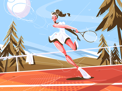 Cute girl with racquet kit8 flat vector illustration character player tennis professional racquet girl cute