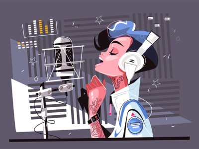 Voice recording studio kit8 flat vector illustration character woman pretty studio recording voice