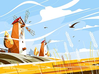 Windmill near wheat field kit8 flat vector illustration vanes sails building field wheat windmill