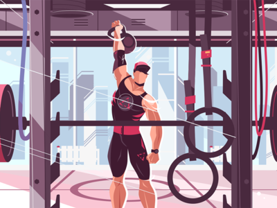 Athlete training in gym kit8 flat vector illustration muscles pumping man strong gym training athlete