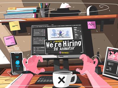 2d Animator illustration animate table character flat designer workplace illustration animator 2d vacancy