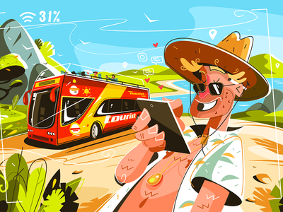 Cheerful tourists on bus kit8 flat vector illustration man smiling bus tourists cheerful