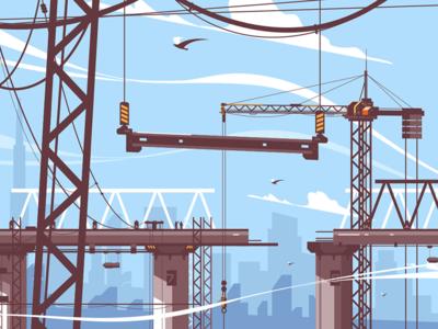 Bridge construction process kit8 flat vector illustration crane process construction bridge