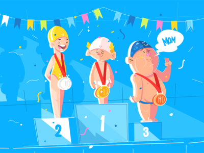 Sport children competition kit8 flat vector illustration character medal boy competition children sport