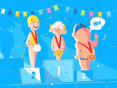 Sport children competition kit8 flat vector illustration character medal boy competition children sport