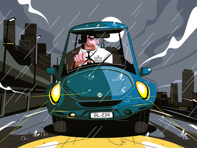 Office worker driving home kit8 flat vector illustration character evening rainfall man going manager car
