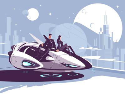 Romantic couple in levitating car resting kit8 flat vector illustration character woman man city night future couple car levitation