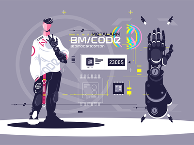 High technological biomodification kit8 flat vector illustration character cyborg hand showing standing man biomodification technological