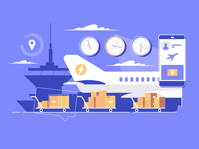 Air logistics kit8 flat vector illustration box airplane cargo delivery parcel