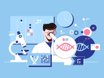 Man scientist in laboratory kit8 flat vector illustration microscope researcher laboratory scientist man