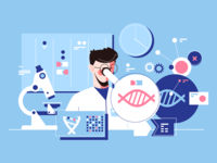 Man scientist in laboratory