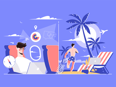 Businessman on plane versus on vacation at a beach kit8 flat vector illustration character tropic beach rest airplane working man laptop businessman