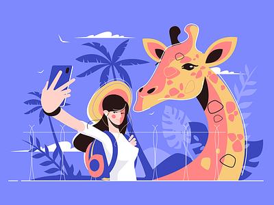 Selfie with giraffe kit8 flat vector illustration character photo traveller girl giraffe selfie