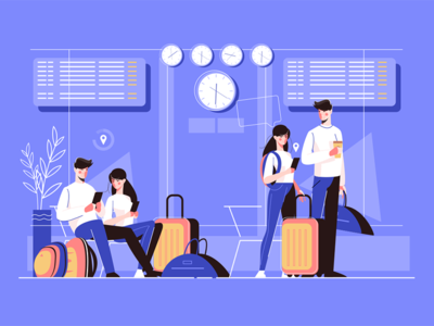 Man and woman in airport kit8 flat vector illustration character people tourist lounge airport boy girl