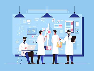 Genetics researchers kit8 flat vector illustration character laboratory doctor medicine study genetic