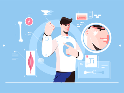 Superman character kit8 flat vector illustration character man medical muscle structure superman