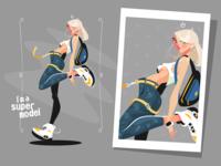 Pretty blonde standing in sneakers
