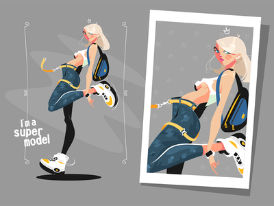 Pretty blonde standing in sneakers kit8 flat vector illustration character poster sneakers standing girl blonde pretty