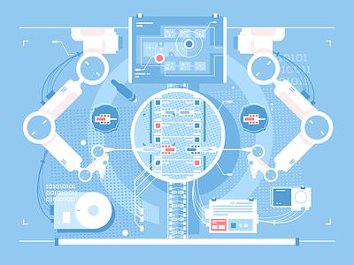 Exact edits kit8 flat vector illustration technologies infographic edits exact