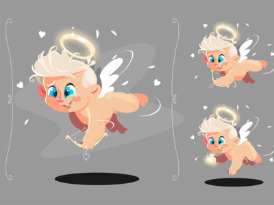Baby angel flying with white wings kit8 flat vector illustration character cupid bow wings flying angel baby boy