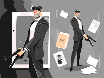 Male spy with handgun kit8 flat vector illustration character handgun spy male