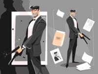 Male spy with handgun
