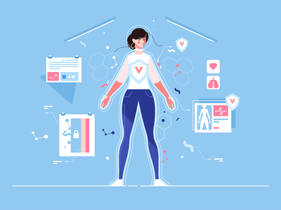 Woman protected from viruses kit8 flat vector illustration character viruses protected reality virtual woman