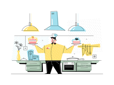 Man confectioner at workplace kit8 flat vector illustration character kitchen standing workplace confectioner man