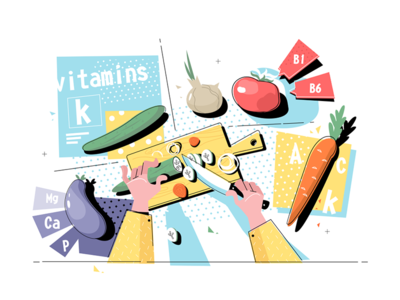 Cutting vegetables on table top view kit8 flat vector illustration table knife holding hand vegetable cut