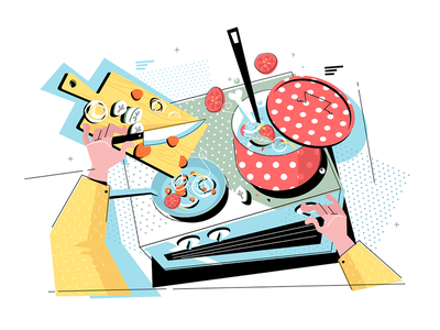 Cooking on the stove stove process cooking veggies sliced pan kit8 flat vector illustration
