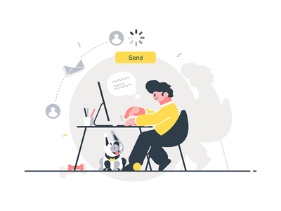 Man writing letter kit8 flat vector illustration character desk sitting guy letter writing man