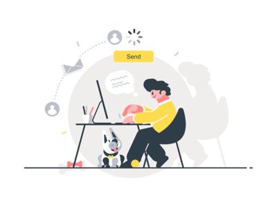 Man writing letter kit8 flat vector illustration character desk sitting guy letter writing man