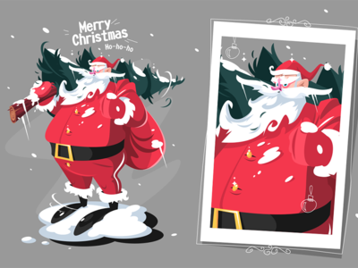 Santa Clause with fir-tree kit8 flat vector illustration character year new happy christmas merry fir-tree clause santa