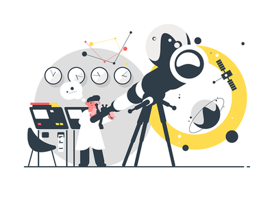 Astronomer watching stars kit8 flat vector illustration character man observatory telescope star watching astronomer